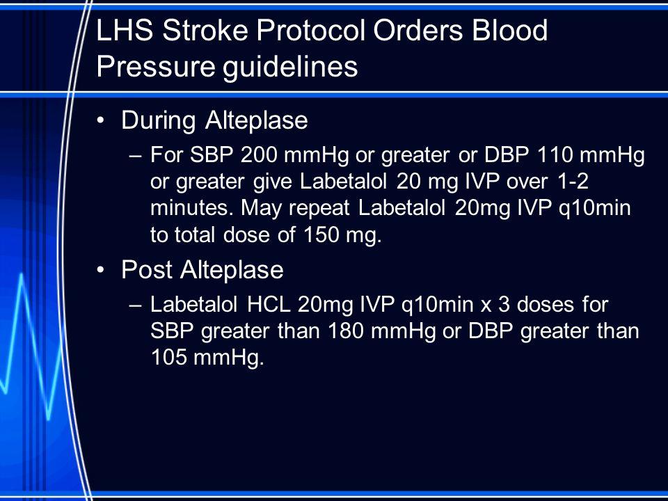 LHS Stroke Protocol Orders Blood Pressure guidelines