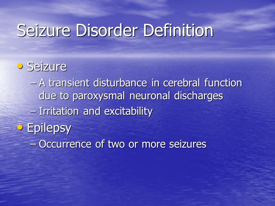 Seizure Disorder Definition