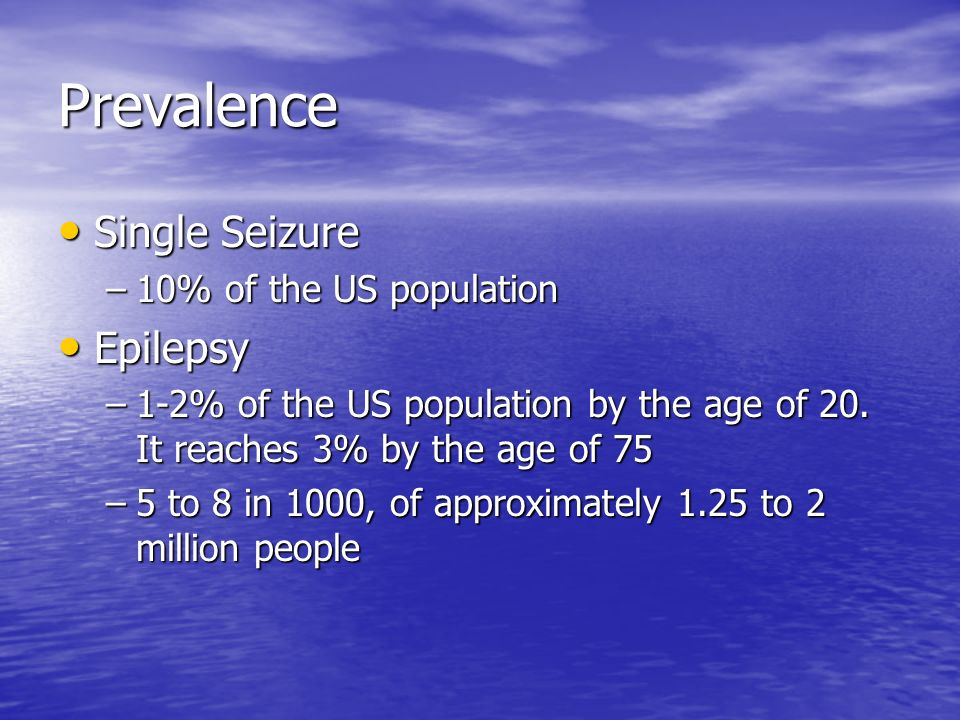 Prevalence Single Seizure Epilepsy 10% of the US population