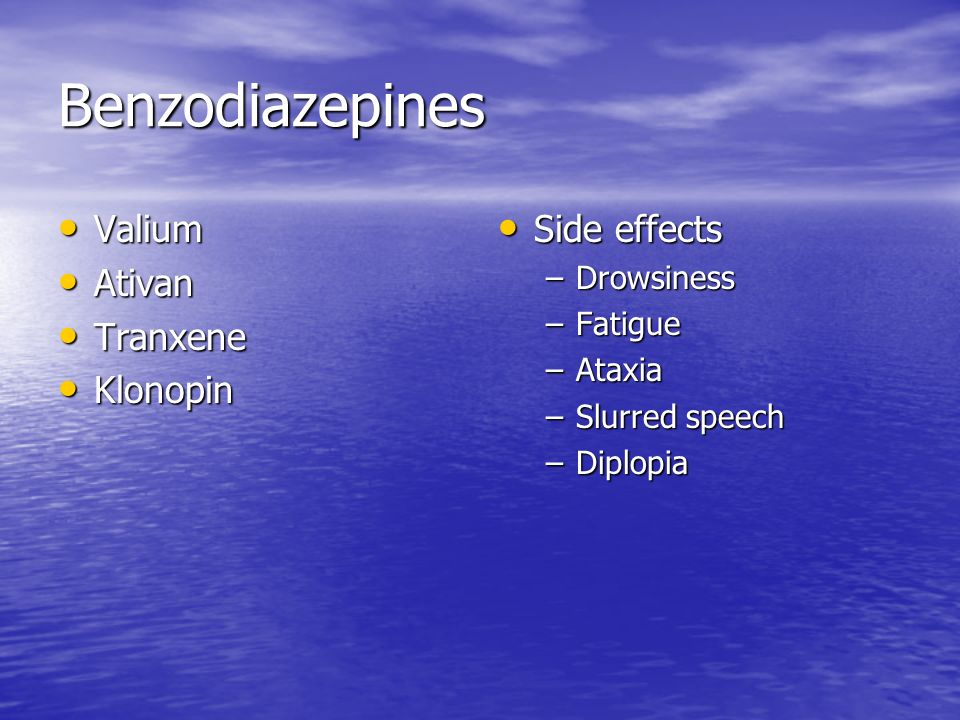 diazepam medication side effects