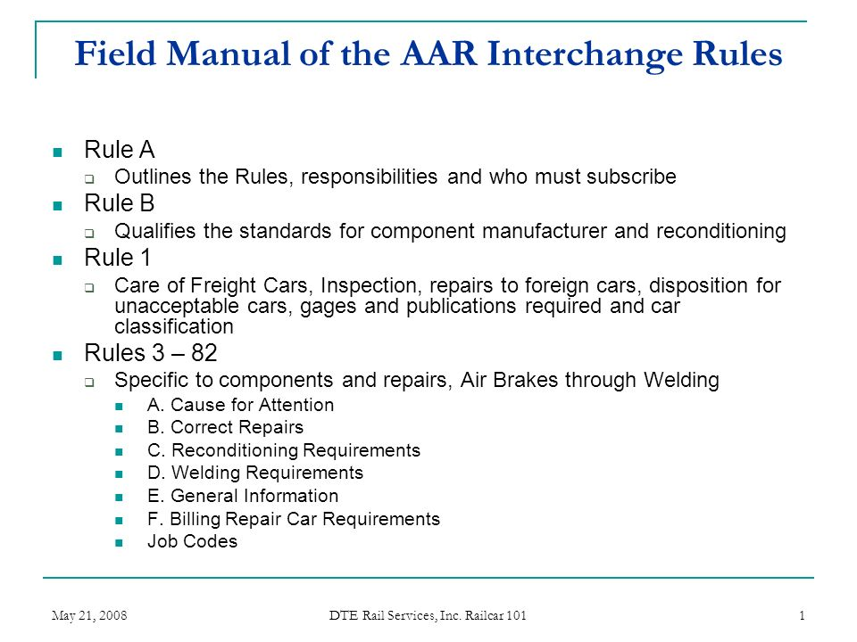 field manual of the aar interchange rules ppt video online download rh slideplayer com Multi Cam Field Manual Field Manual Signal