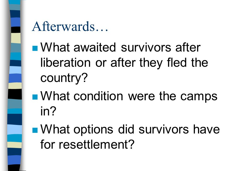 Afterwards… What awaited survivors after liberation or after they fled the country What condition were the camps in