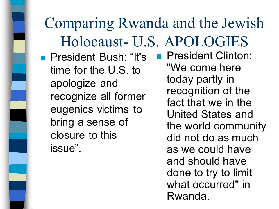 Comparing Rwanda and the Jewish Holocaust- U.S. APOLOGIES