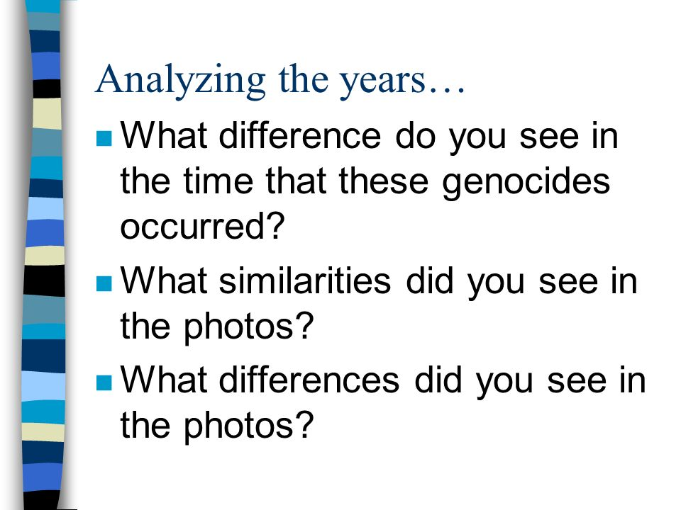 Analyzing the years… What difference do you see in the time that these genocides occurred What similarities did you see in the photos