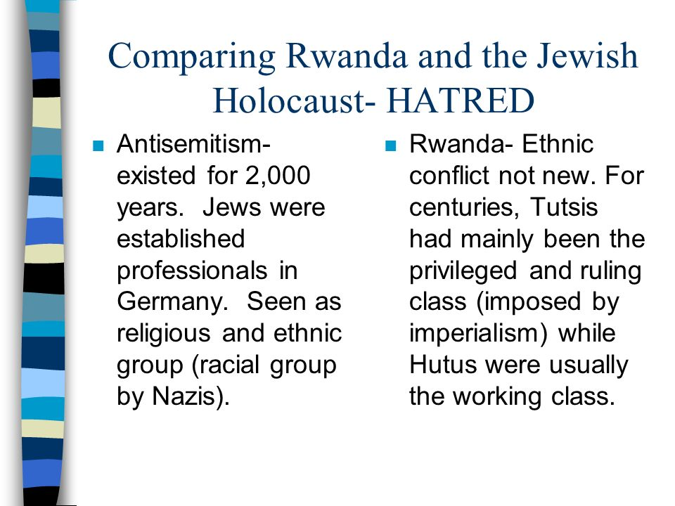 Comparing Rwanda and the Jewish Holocaust- HATRED