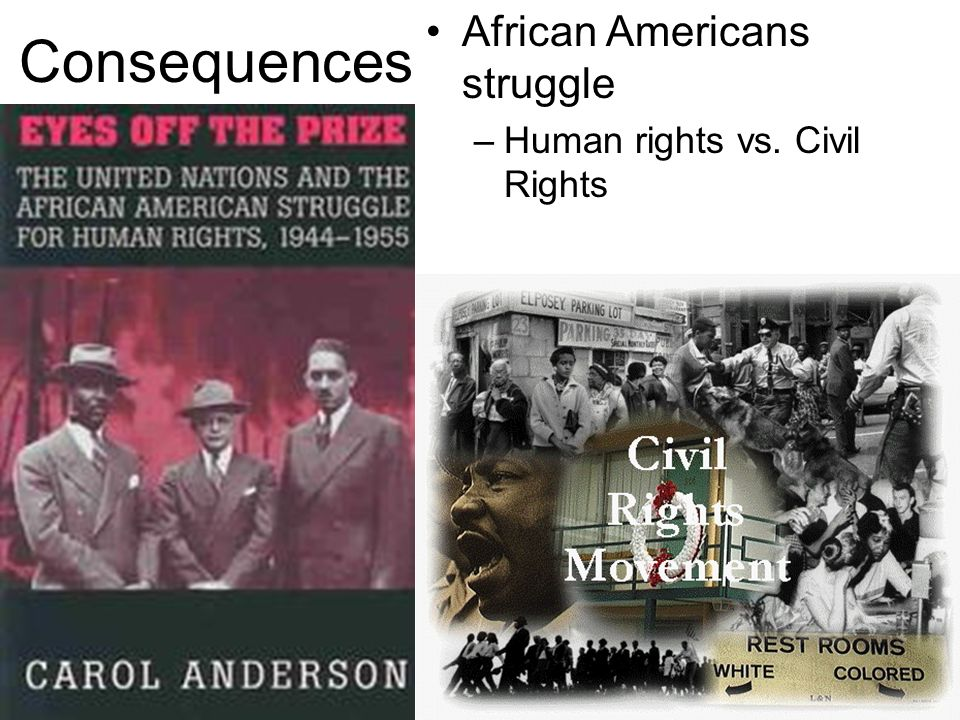 Consequences African Americans struggle Human rights vs. Civil Rights