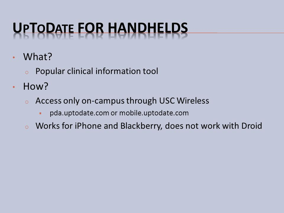 UpToDate for handhelds