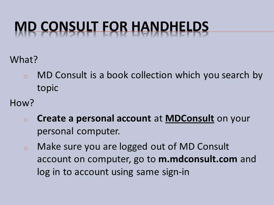 MD Consult for handhelds