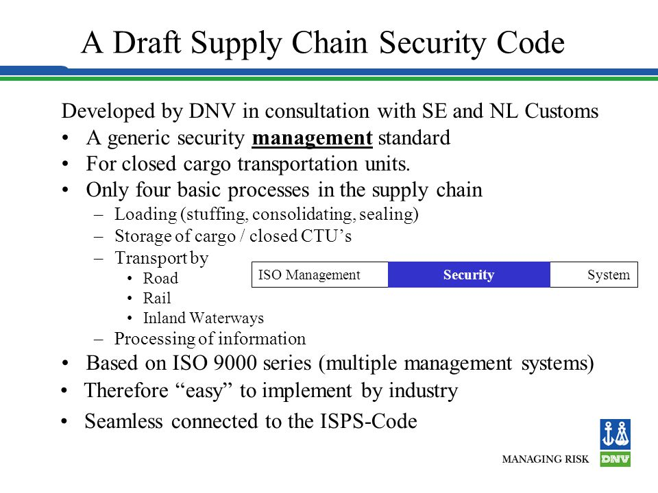 international supply chain security To investigate the practices and value of a voluntary logistics security program, c ‐tpat certification, and its impact on international supply chain collaboration.