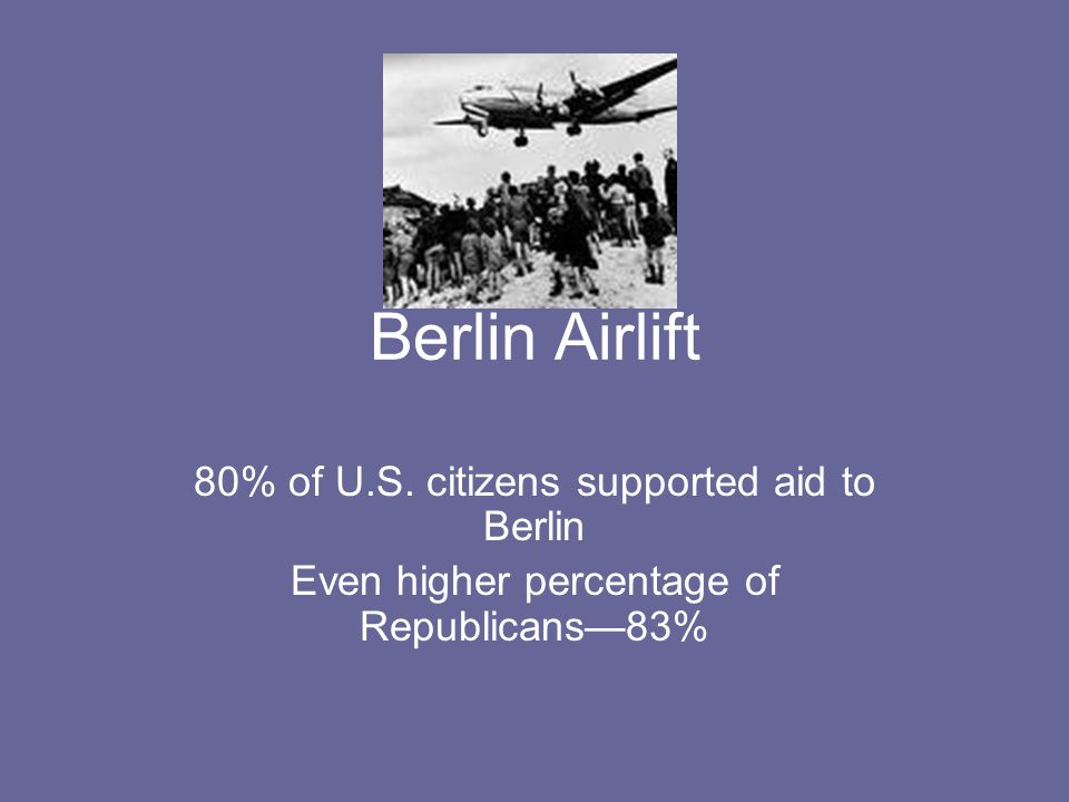 Berlin Airlift 80% of U.S. citizens supported aid to Berlin