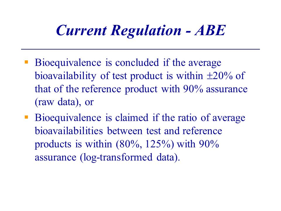 Current Regulation - ABE