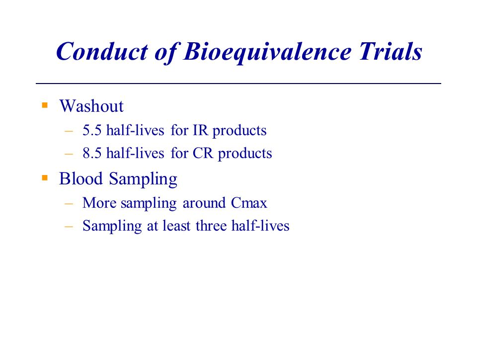 Conduct of Bioequivalence Trials
