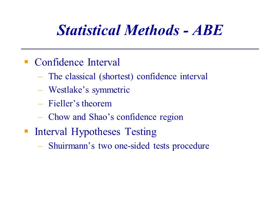 Statistical Methods - ABE