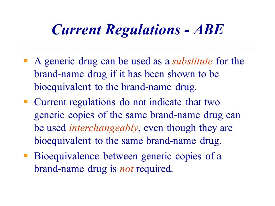 Current Regulations - ABE