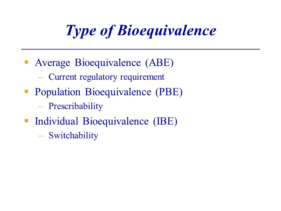 Type of Bioequivalence