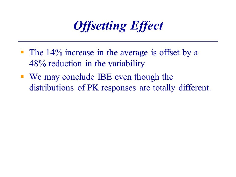 Offsetting Effect The 14% increase in the average is offset by a 48% reduction in the variability.