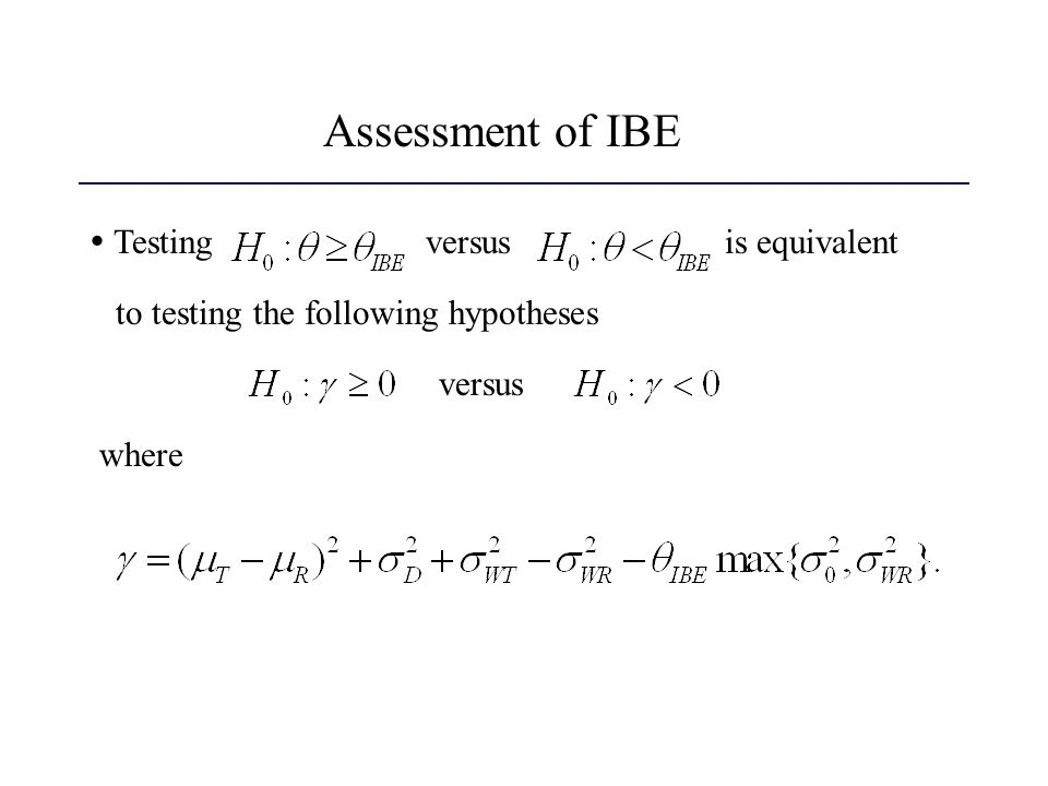 Assessment of IBE  Testing versus is equivalent
