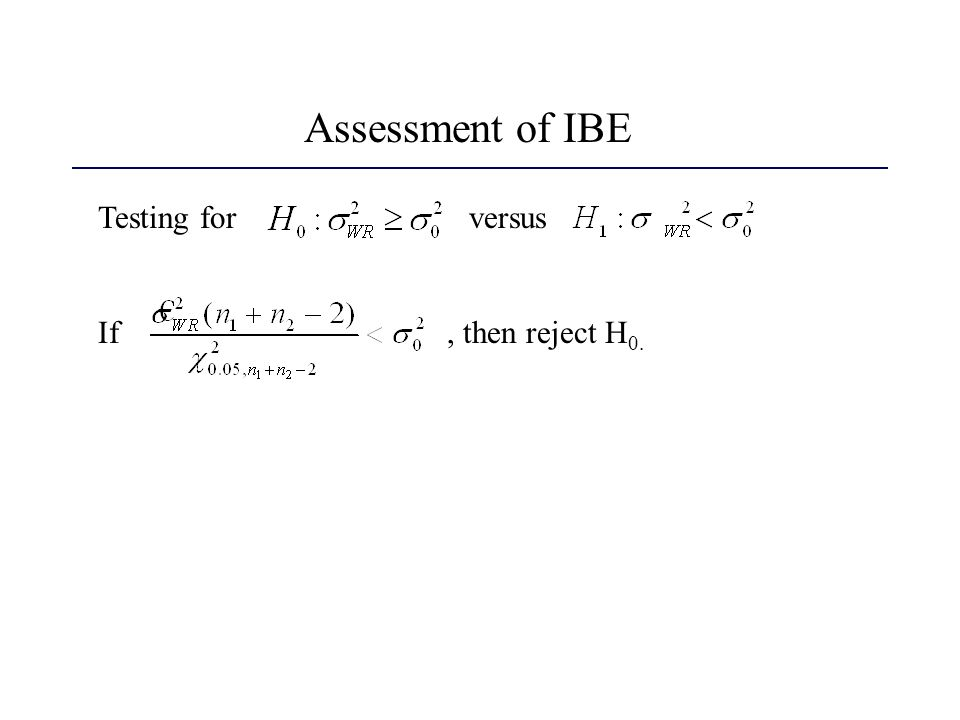 Assessment of IBE Testing for versus.