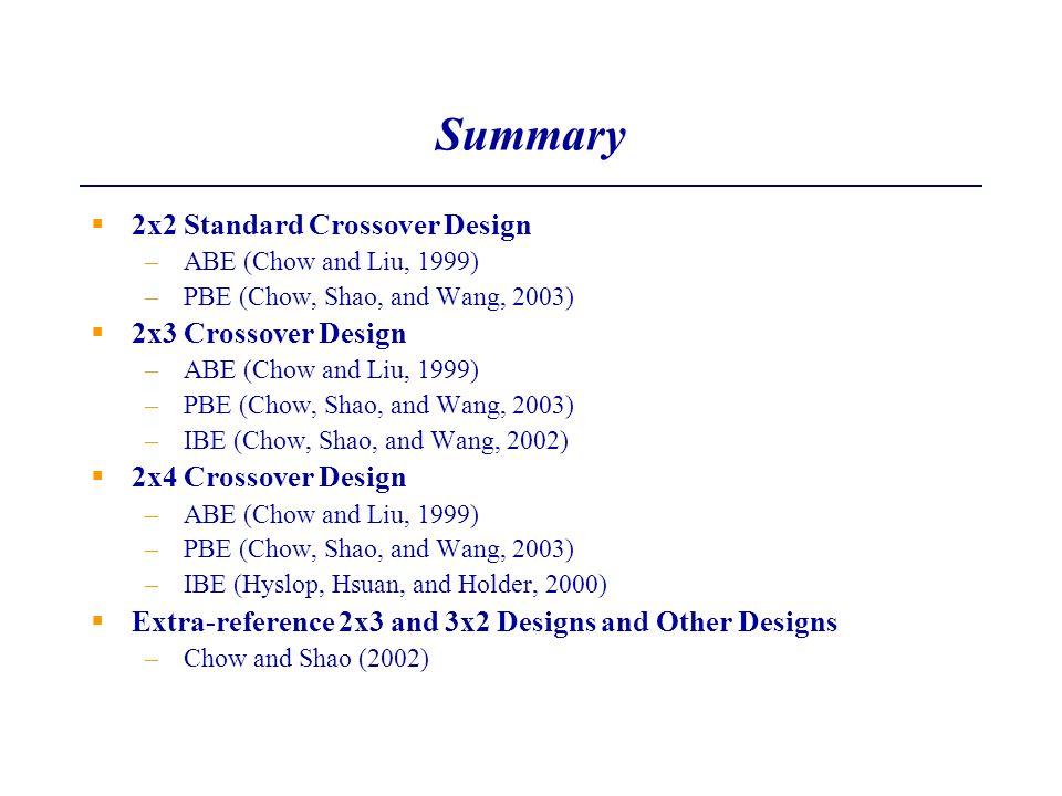Summary 2x2 Standard Crossover Design 2x3 Crossover Design