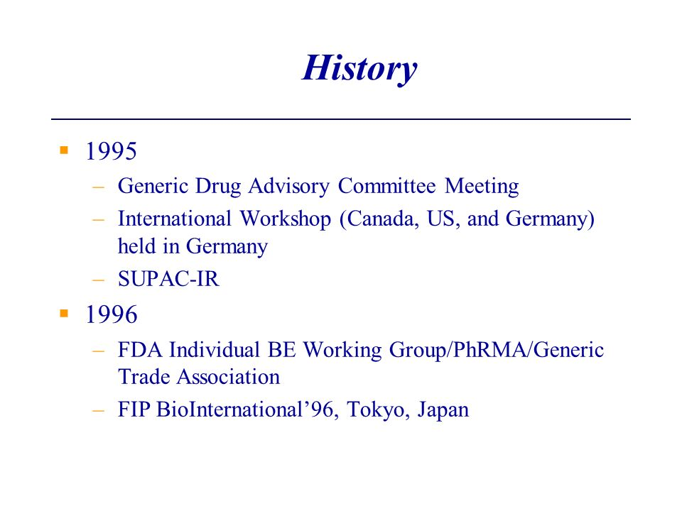 History 1995 1996 Generic Drug Advisory Committee Meeting