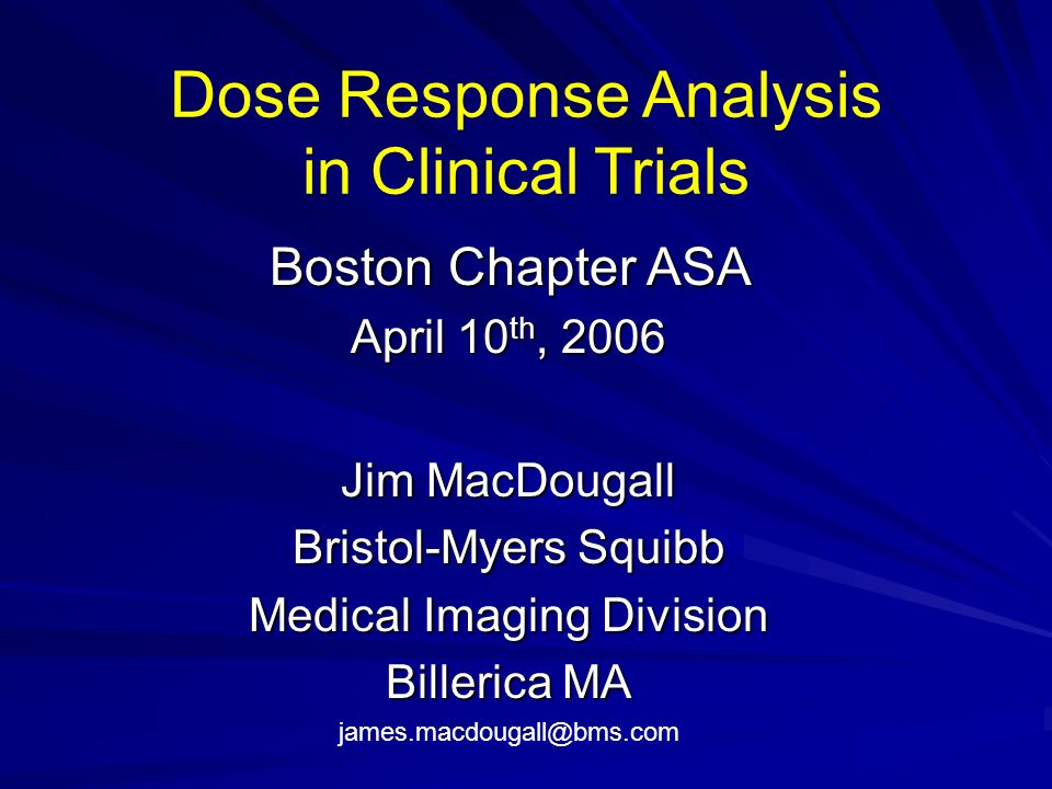 Dose Response Analysis in Clinical Trials