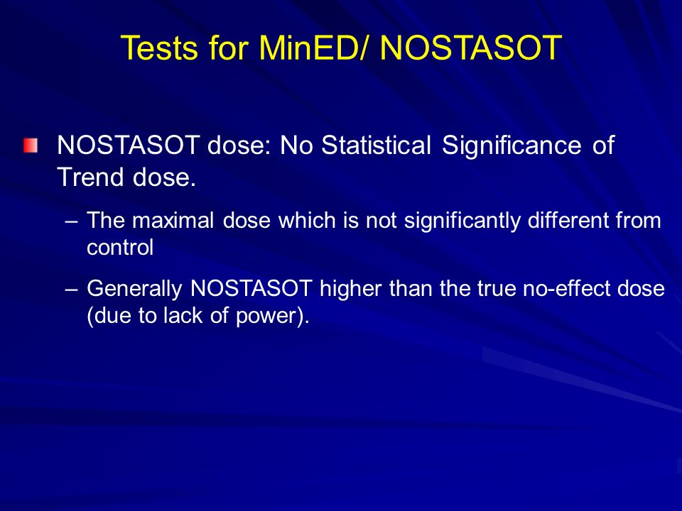 Tests for MinED/ NOSTASOT