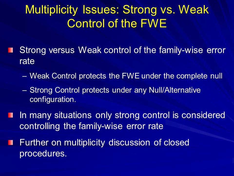 Multiplicity Issues: Strong vs. Weak Control of the FWE
