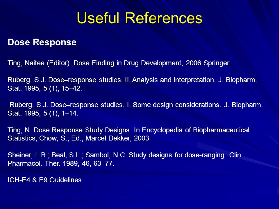 Useful References Dose Response