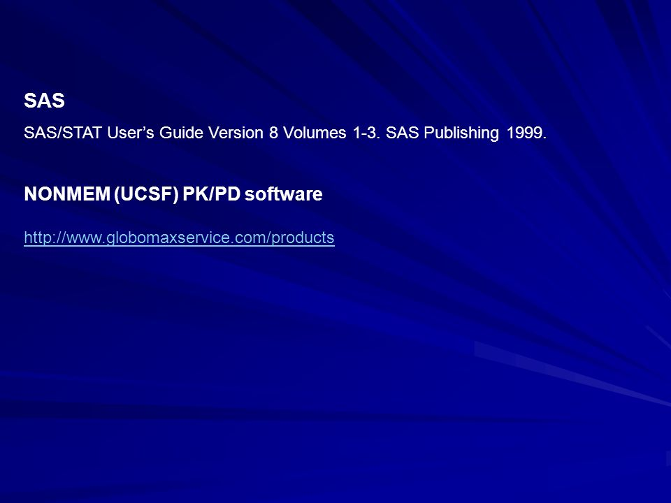 SAS NONMEM (UCSF) PK/PD software