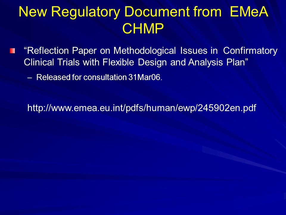 New Regulatory Document from EMeA CHMP