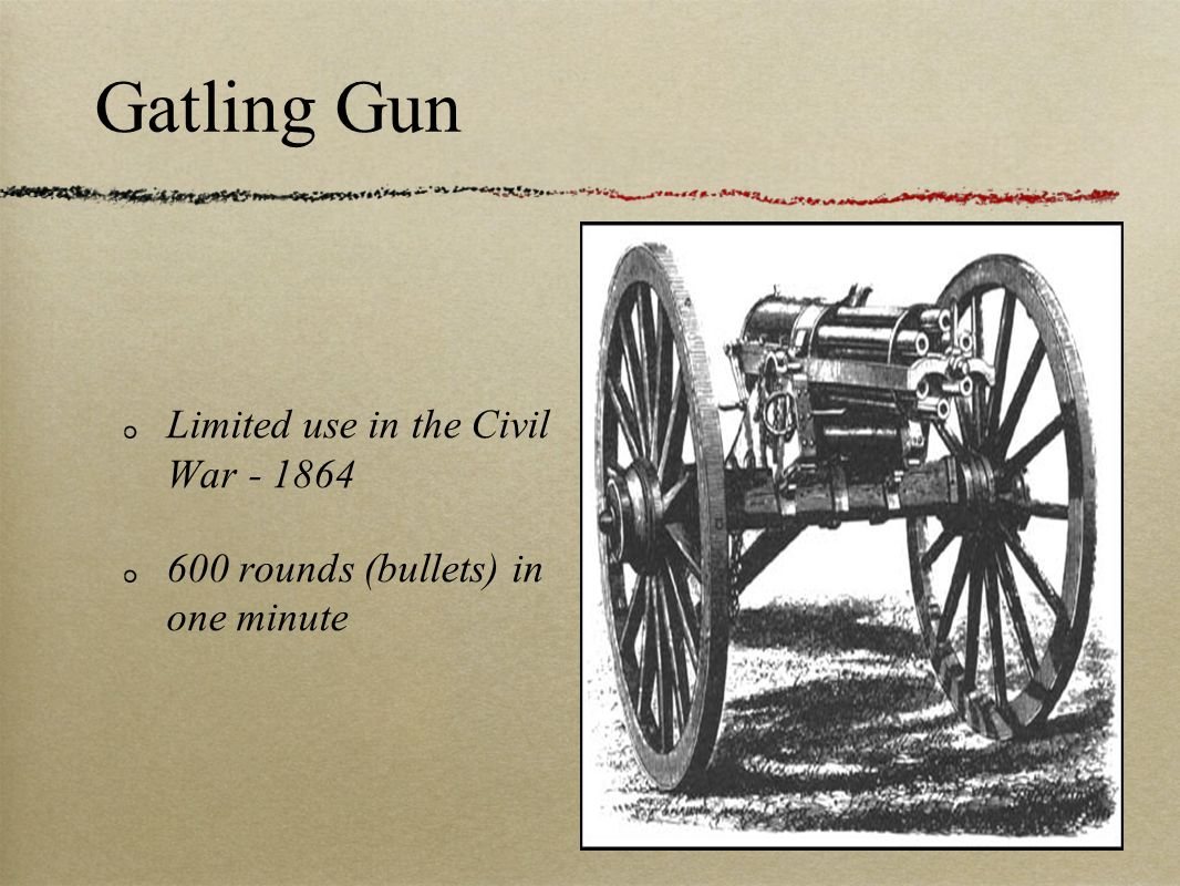 Gatling Gun Limited use in the Civil War - 1864