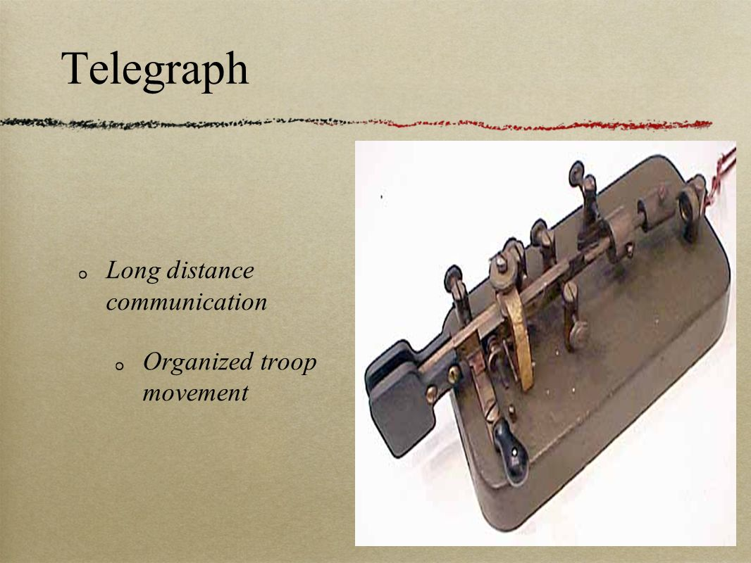 Telegraph Long distance communication Organized troop movement