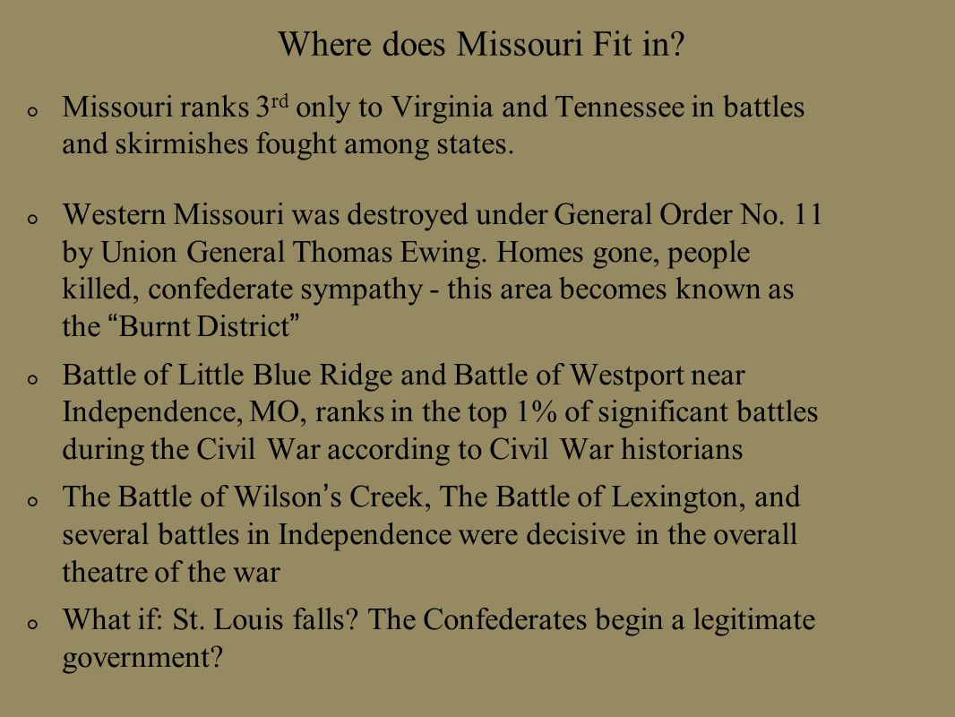 Where does Missouri Fit in
