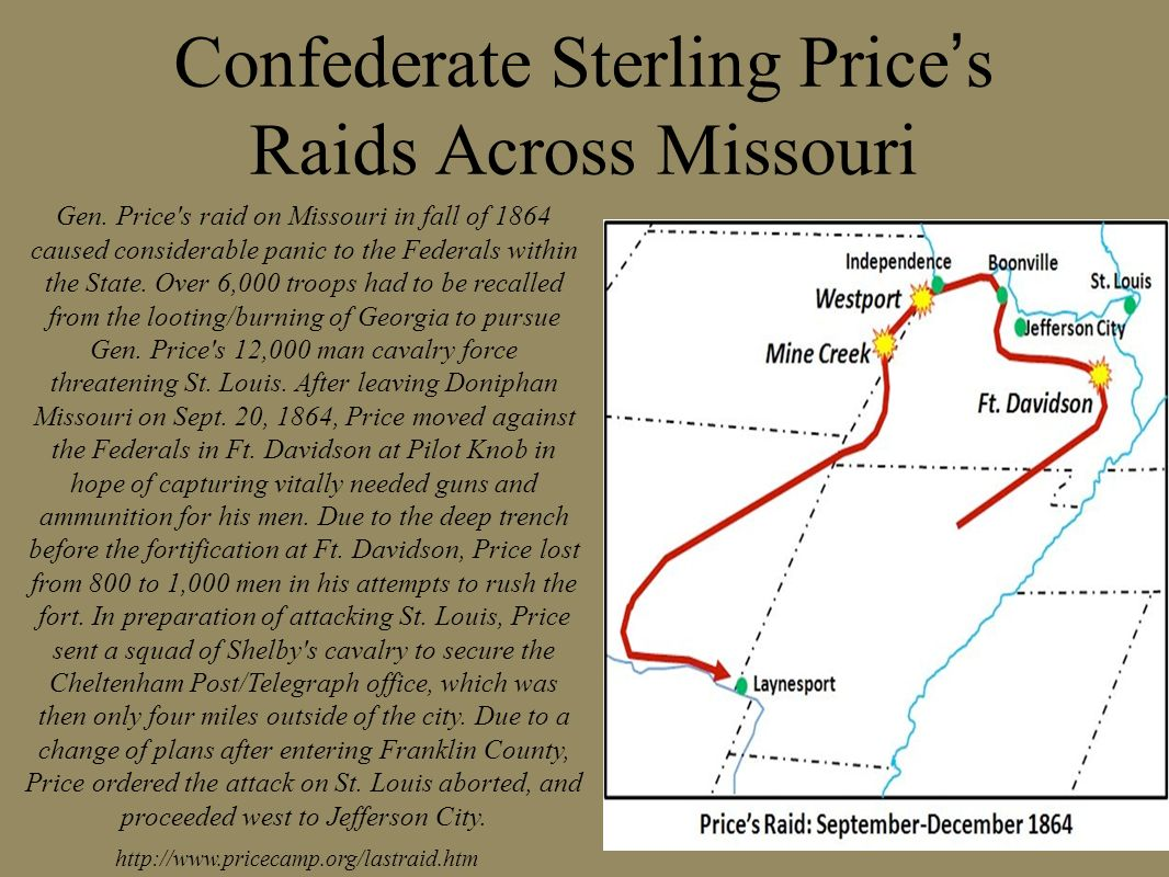 Confederate Sterling Price's Raids Across Missouri