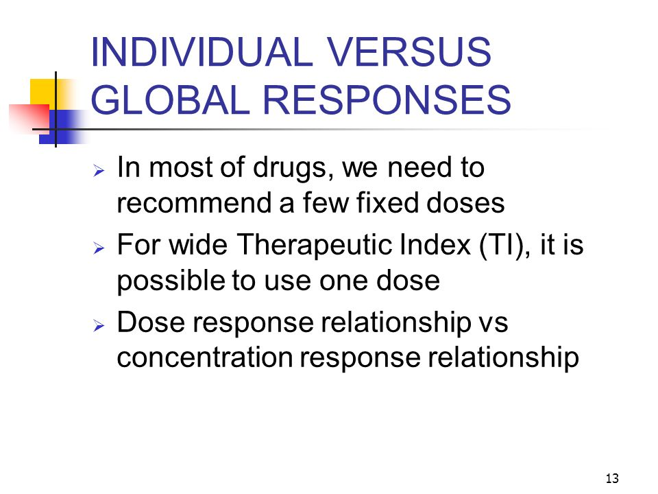 INDIVIDUAL VERSUS GLOBAL RESPONSES
