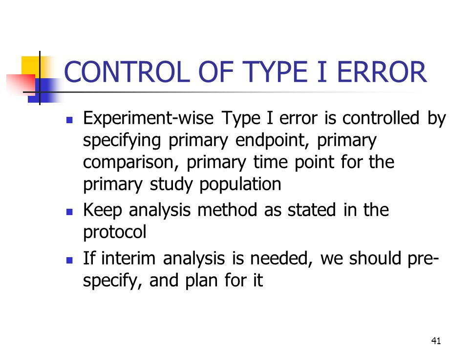 CONTROL OF TYPE I ERROR