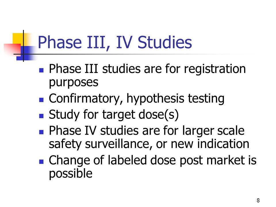 Phase III, IV Studies Phase III studies are for registration purposes