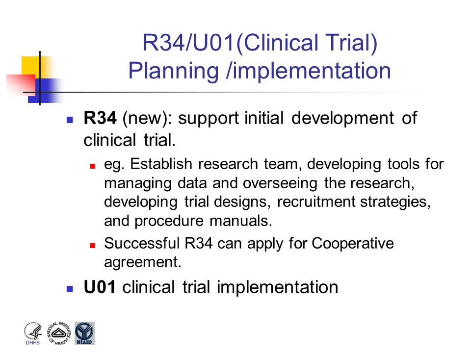 R34/U01(Clinical Trial) Planning /implementation