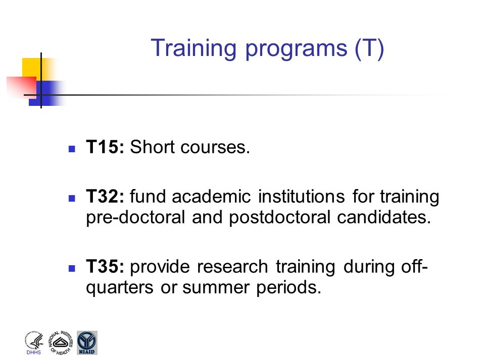 Training programs (T) T15: Short courses.
