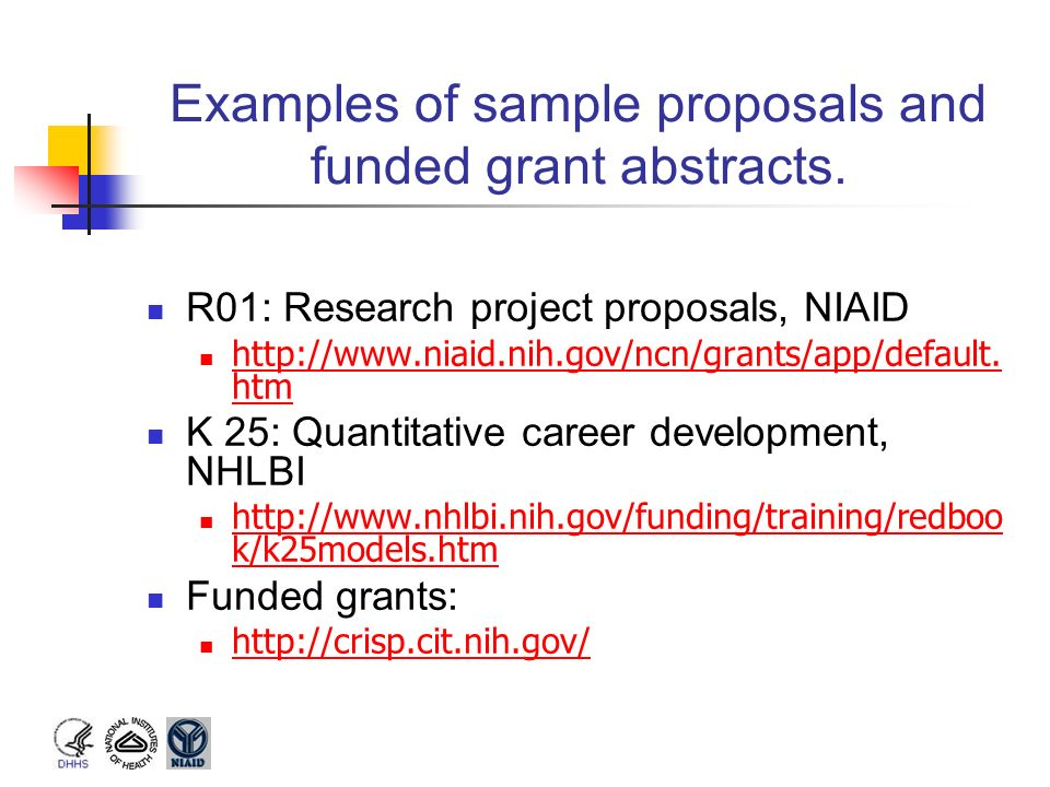Examples of sample proposals and funded grant abstracts.