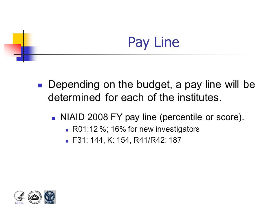 Pay Line Depending on the budget, a pay line will be determined for each of the institutes. NIAID 2008 FY pay line (percentile or score).