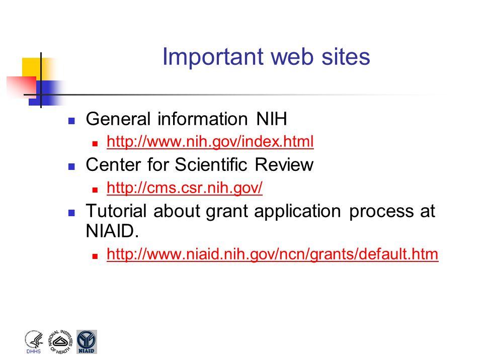 Important web sites General information NIH
