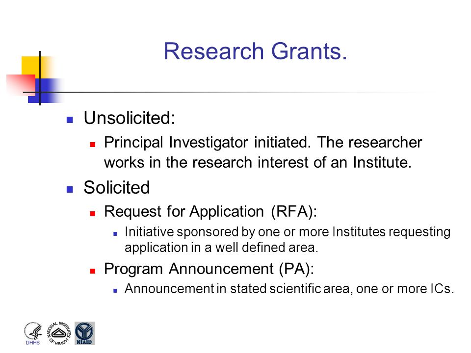 Research Grants. Unsolicited: Solicited