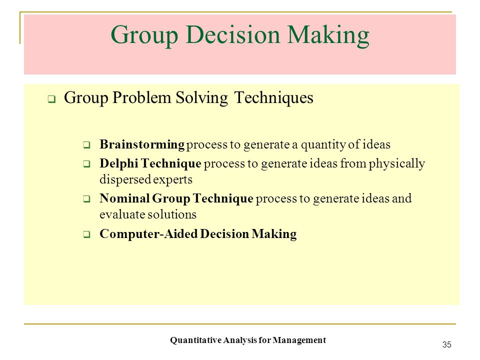 comparative study of decision making techniques Study on decision making styles of the consumer decision-making process is a complex phenomenon was made to study the consumer decision-making styles in decision making process: feasibility study: presentation of the results in a comparative framework so that the decision maker can make an informed choice from.