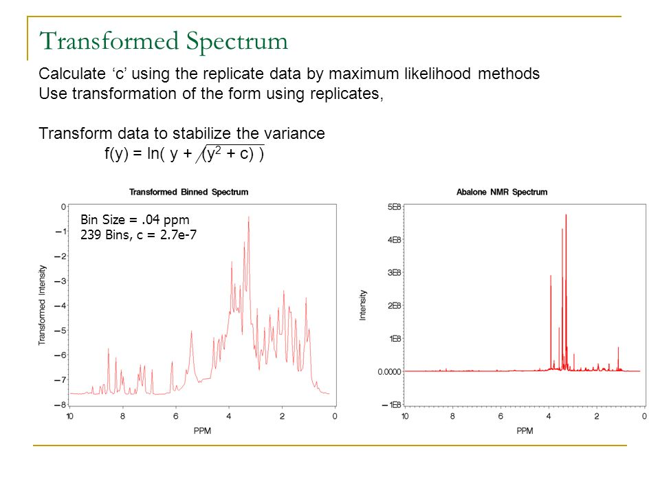 Transformed Spectrum Calculate 'c' using the replicate data by maximum likelihood methods. Use transformation of the form using replicates,