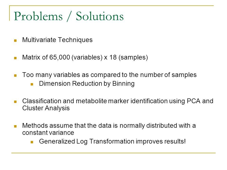 Problems / Solutions Multivariate Techniques