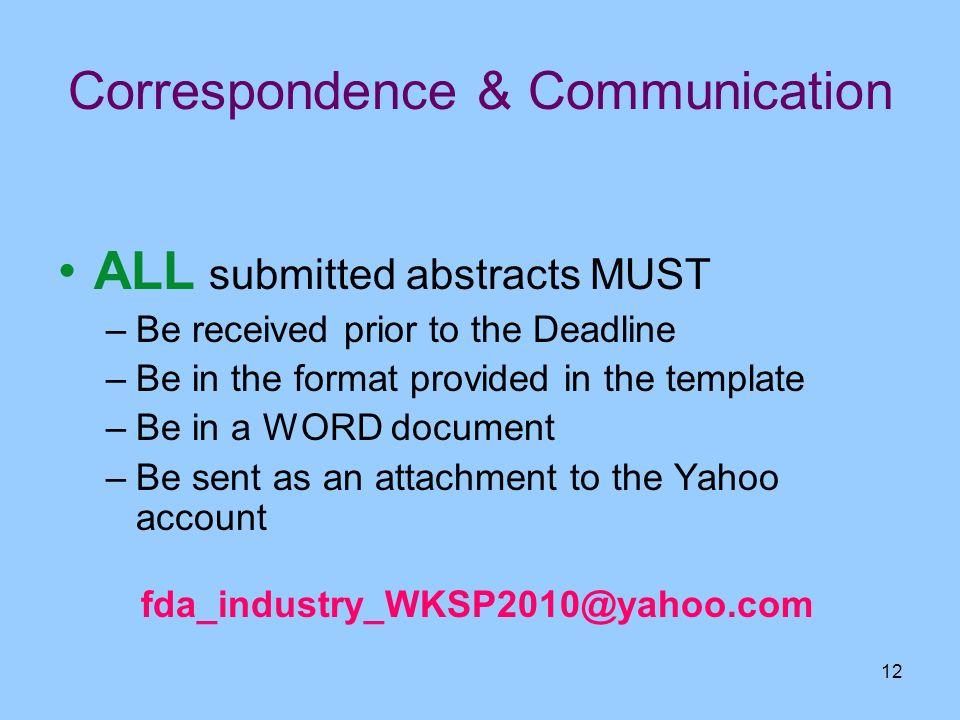 Correspondence & Communication
