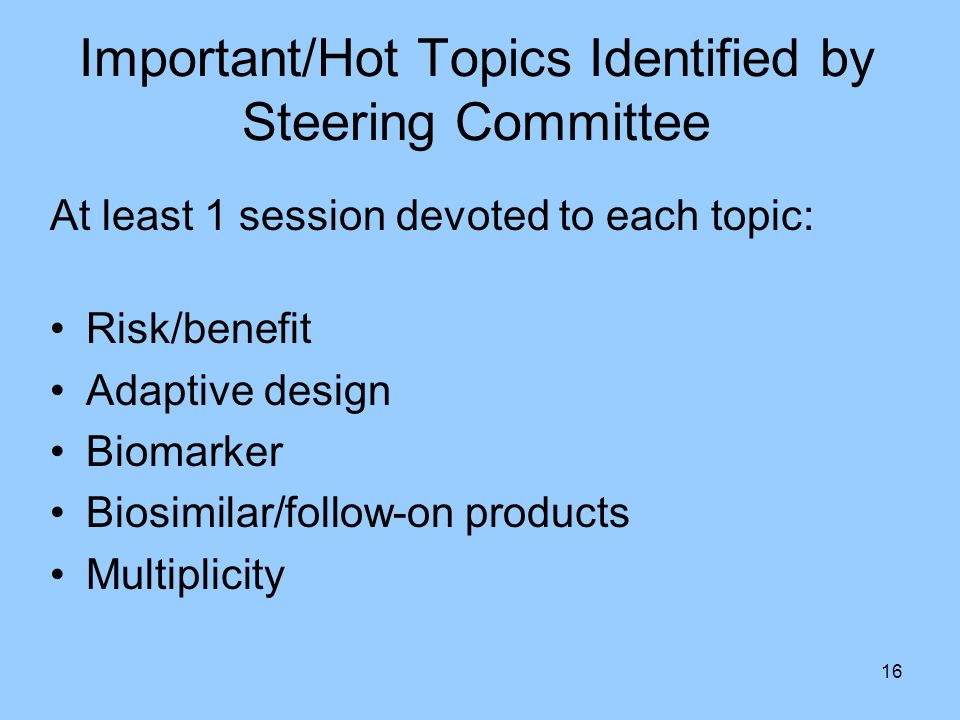 Important/Hot Topics Identified by Steering Committee
