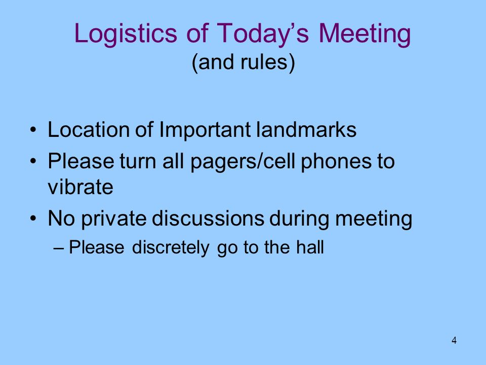 Logistics of Today's Meeting (and rules)