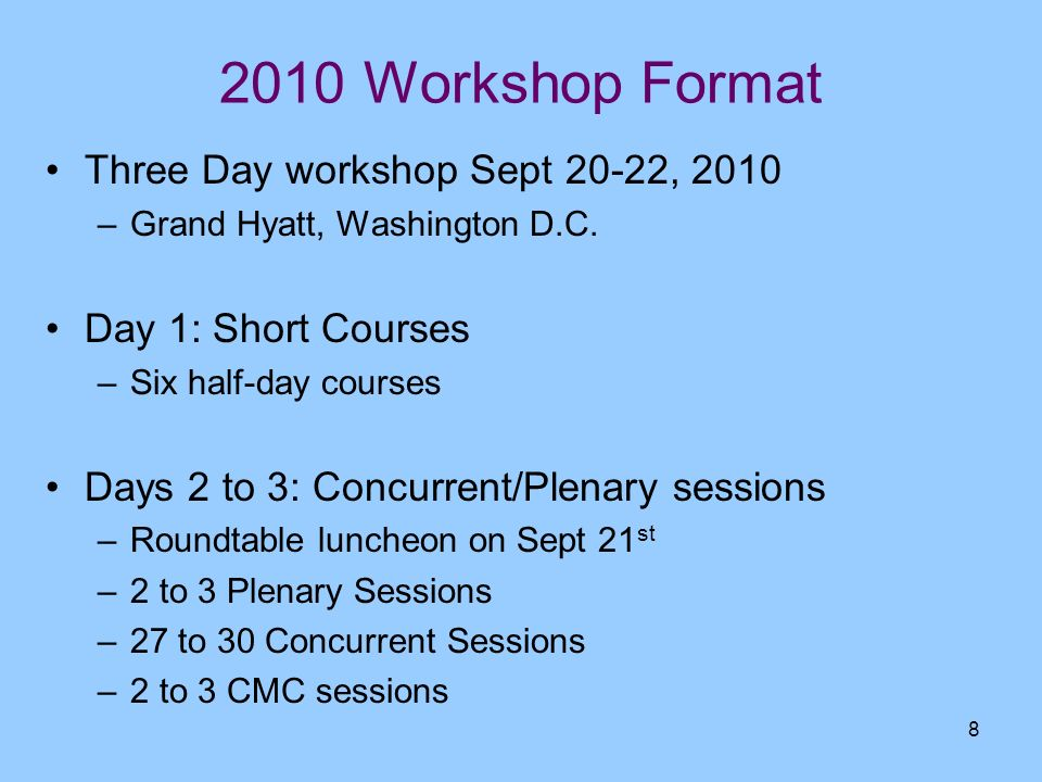 2010 Workshop Format Three Day workshop Sept 20-22, 2010